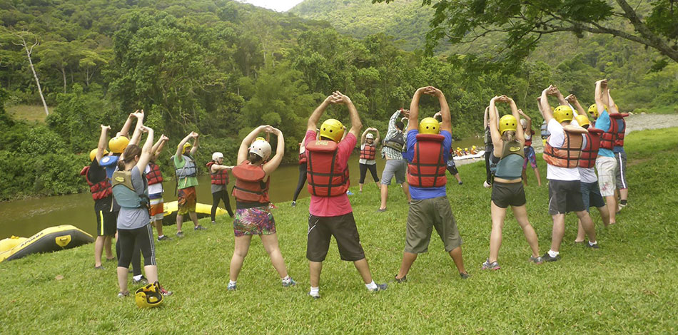 alongamento antes do rafting